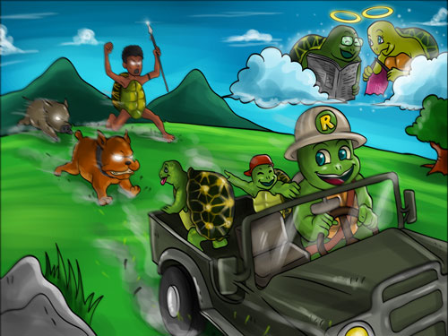 Ranger Rom driving a 4x4 with his geometric tortiouse family being chased by poachers